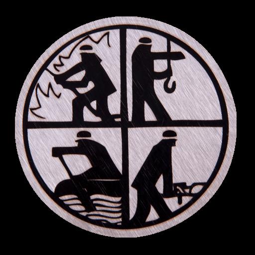 Feuerwehr Logo auf Edelstahleinleger